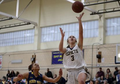 Catonsville's Sophi Wrisk, shown scoring two of her 13 points in the Comets' 70-41 playoff win over Perry Hall last year, returns for her senior season for the Comets, who open their home season on Saturday, Dec. 14 against Mount de Sales in the Catonsville Cup.