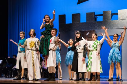"""Actors from the South Carroll High School Stagelighters portray knights, dancers, and the Lady of the in """"Monty Python's Spamalot!"""" which has its closing weekend Feb. 14 and 15."""