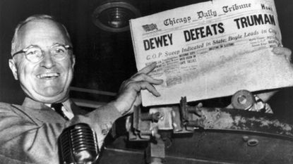"<p><span style=""color: #000000;"">Harry Truman with a ""Dewey Defeats Truman"" copy of the Chicago Daily Tribune, dated November 1948.</span></p>"