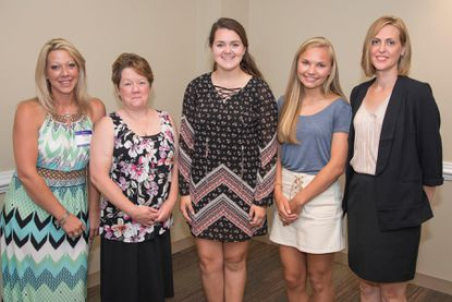 Pictured, from left, are Nichole Sterner, Libman Nursing Scholarship recipient; Keri Magee, Libman Nursing Scholarship recipient; Autumn Lippy, Scholarship for Dependents of Associates recipient; Michaela Scott, Virginia Minnick Auxiliary Scholarship recipient; and Jenifer Garner, Carroll Hospital Associate Scholarship created by Physicians of Indian Origin recipient. Not pictured is Brittany Jackson, Carroll Hospital Associate Scholarship created by Physicians of Indian Origin recipient.