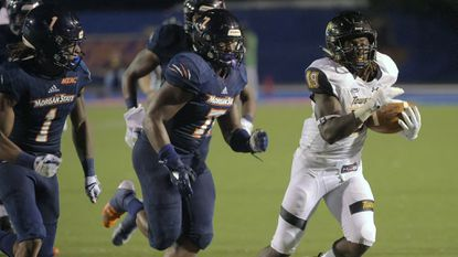 Morgan State cornerback Donte Small (#1) intercepted three passes in a 30-27 loss at Albany a week ago. The Bears will try to slow North Carolina A&T on Saturday.