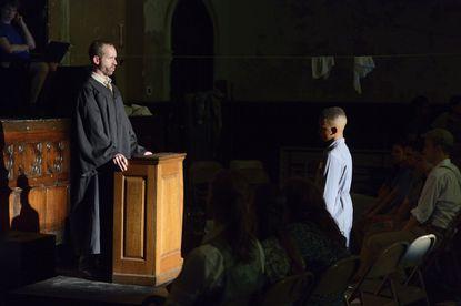 """A judge (Daryl Yoder) sentences George Stinney Jr. (A.J. Garrett) to death in """"Stinney"""""""