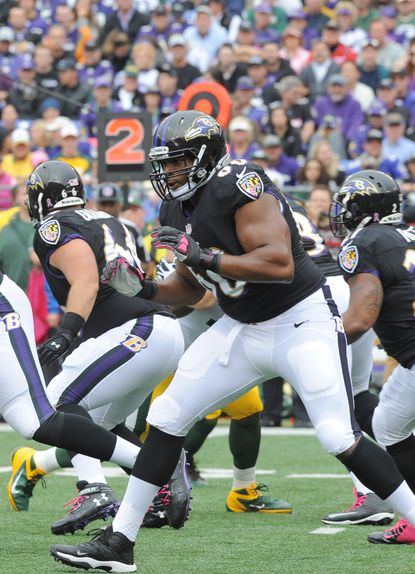 Ravens left tackle Eugene Monroe lines up against the Green Bay Packers in October.