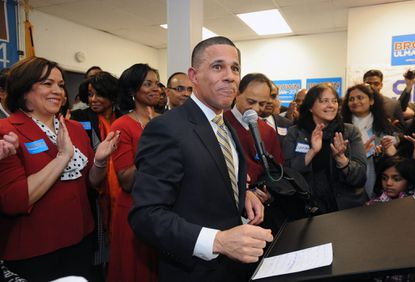 Lt. Gov. Anthony Brown rallies his troops as he opens a campaign headquarters in Montgomery County.