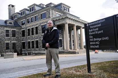 Patrick Moran, President of AFSCME Maryland, is pictured on the grounds of Spring Grove Hospital Center. A changing patient population at Spring Grove and other psychiatric institutions is causing major problems, including assaults on employees, according to a new report.