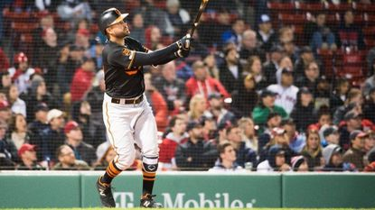 Renato Nunez #39 of the Baltimore Orioles hits a two run home run in the ninth inning against the Boston Red Sox at Fenway Park on April 12, 2019 in Boston, Massachusetts.