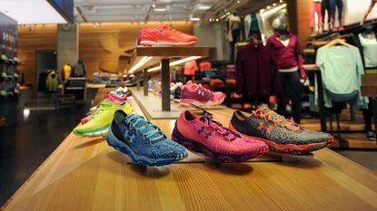 A women's shoe display at the Under Armour Brand House in Harbor East in this file photo.