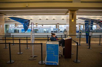 A TSA checkpoint at John Wayne Airport is nearly empty on March 24, 2020, in Santa Ana, California. (Jay L. Clendenin/Los Angeles Times/TNS)