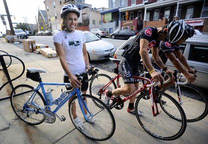 Melissa Otterbein, of Hamden, trained with a local bicycle racing club to prepare for the 70.3 Ironman World Championship in Las Vegas.