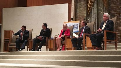 The five leading candidates for Baltimore County executive debate at Beth El Congregation Wednesday night, from left: Del. Pat McDonough, former Del. Johnny Olszewski Jr., County Councilwoman Vicki Almond, state Sen. Jim Brochin and state insurance commissioner Al Redmer Jr.