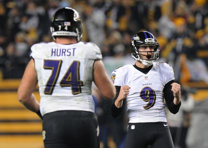 Justin Tucker celebrates after making a field goal in the fourth quarter last week in Pittsburgh.
