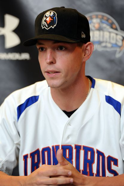 Jeff Kemp speaks about being drafted by the Orioles at a preseason news conference for the short-season Single-A Aberdeen IronBirds on Thursday.