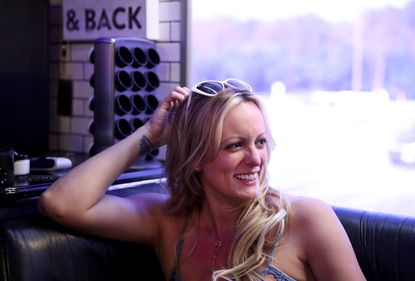 Stormy Danielsanswers questions during an interviewwhile on her tour bus in Rosemont, Ill., on June 16, 2018.