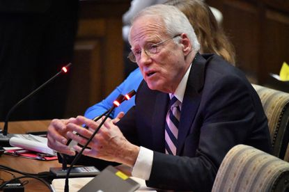 """William """"Brit"""" Kirwan, who led the Kirwan Commission for education reform, testifies at the joint hearing on the legislation Feb. 17 in Annapolis."""