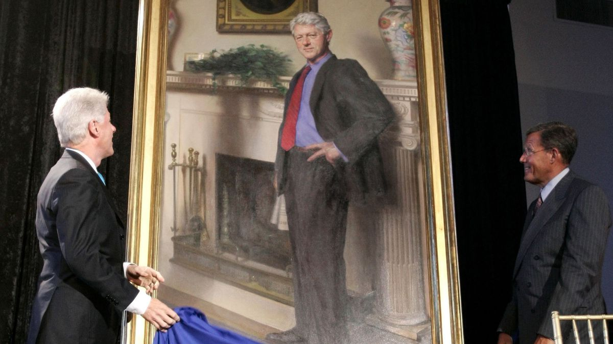 Bill Clinton Portrait Features Shadow Of Lewinsky Dress Says Artist Baltimore Sun