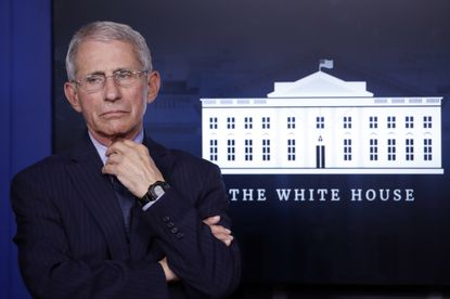 In this April 1, 2020, Dr. Anthony Fauci, director of the National Institute of Allergy and Infectious Diseases, appears at the White House, in Washington. The National Bobblehead Hall of Fame and Museum is creating a bobblehead of Dr. Fauci, wearing a suit, as he discusses the coronavirus pandemic. He has also reportedly been the target of death threats and has recently received enhanced security.