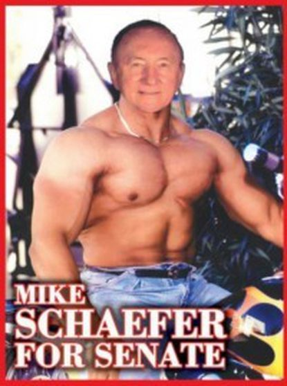 Mike Schaefer in a doctored photo he distributed as part of his U.S. Senate campaign