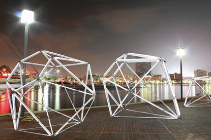 """An idea sketch for """"Diamonds Light Baltimore,"""" a light installation by the water for Light City Baltimore."""