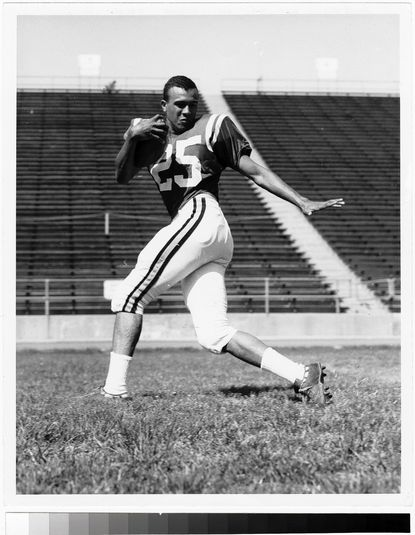 Darryl Hill, seen here during his days on the University of Maryland football team, was the first African-American man to play in the ACC in 1963.