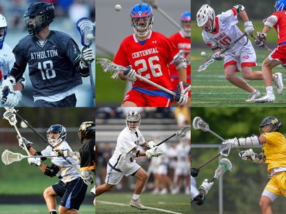 Members of the Howard County boys lacrosse senior class (clockwise from top left) Atholton's Nolan Krasnick, Centennial's Ty Sams, Glenelg's Mason Davis, Howard's Jeff Bruner, Marriotts Ridge's Andrew Luciano and Mt. Hebron's Mateo Brown.