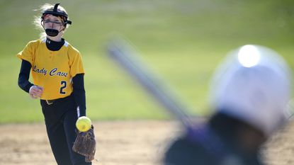 South Carroll pitcher Chloe Sharman delivers during the second inning of the Knights' win over the Cavaliers in Winfield Wednesday, April 3, 2018.