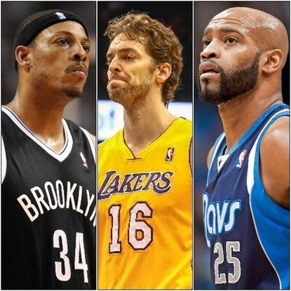 From left: Among those who moved on from the 2014 NBA free-agent pool were Paul Pierce (from Nets to Wizards), Pau Gasol (from Lakers to Bulls) and Vince Carter (from Mavericks to Grizzlies).