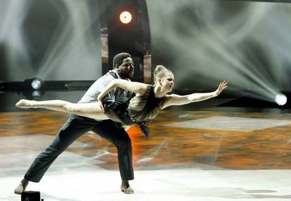 """Top 10 contestant Valerie Rockey (right) and all-star Ade Obayomi perform a jazz routine on """"So You Think You Can Dance."""""""