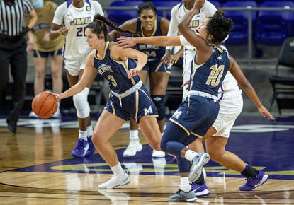 Mount St. Mary's guard Kendall Bresee breaks free during a game against James Madison in Harrisonburg, Va., on Nov. 25, 2020.