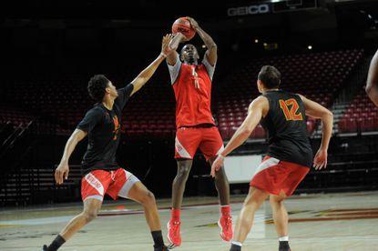 Maryland senior guard Darryl Morsell, shoot the ball during practice.