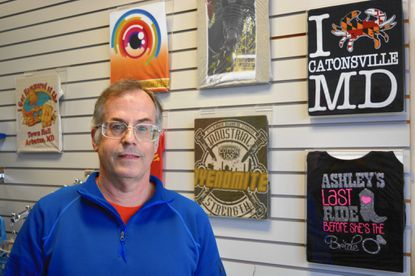 Dan Swearingen, owner of the EmbroidMe Catonsville shop, was the winner of the Greater Catonsville Chamber of Commerce's Businessperson of the Year Award.