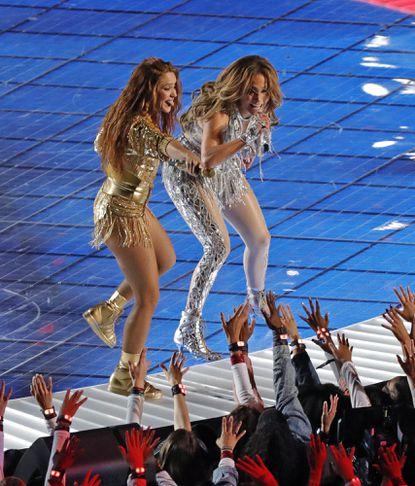 Jennifer Lopez and Shakira perform during the Pepsi Super Bowl LIV Halftime Show at Hard Rock Stadium on Sunday, Feb. 2, 2020 in Miami Gardens, Fla.