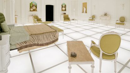 """The Barmecide Feast, a fully realized, full-scale reflection of the iconic, neo-classical hotel room from the penultimate scene of Stanley Kubrick's and Arthur C. Clarke's landmark film, """"2001: A Space Odyssey."""""""