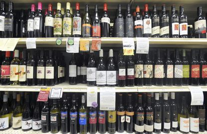Display of wine at Wells Discount Liquors on York Road.