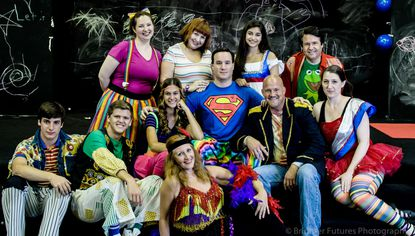 "Pasadena Theatre Company will present ""Godspell,"" opening August 15 at Anne Arundel Community College. The cast includes, from left: back row, Sandy Rardon, Lorelei Chapman, Julia Salatti and John Scheeler; middle row A.J. Williams, Sean Love, Katie Sacha, Brian Mellen, Frank Antonio and Cristina Shunk; and in front, Christy Stouffer. Photo courtesy Brighter Futures Photography"