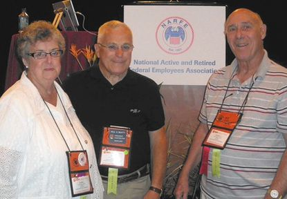 Three members of the Carroll County Chapter, National Active and Retired Federal Employees Association attended the NARFE National Convention in Florida as voting delegates for the local chapter. They are, from left: Raenell Beatty; Paul Beatty, chapter president; and Joe Self, past chapter president and national convention sergeant of arms.