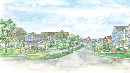 A rendering of the proposed Erickson Living retirement community in Clarksville. The community would include 1,200 independent living units and 240 assisted living units.