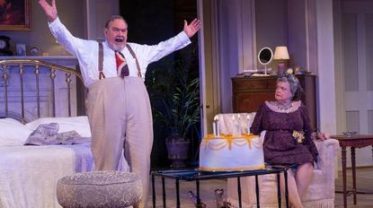 """David Schramm as Big Daddy and Charlotte Booker as Big Mama in the Baltimore Center Stage production of """"Cat on a Hot Tin Roof."""""""