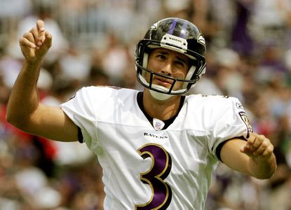 Ravens kicker Matt Stover celebrates after kicking his third field goal against the Oakland Raiders on Sept. 17, 2006.