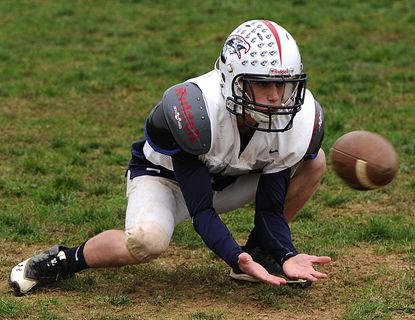 Francis Scott Key's Brendan Lease makes a catch during practice on Wednesday in Uniontown.