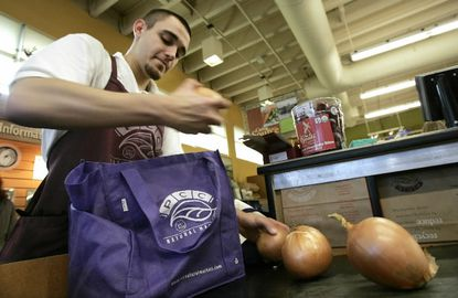Reusable grocery bags carry more, reduce plastic bag waste and litter.