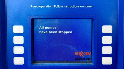 The Exxon gasoline station at Erdman Avenue and Edison Highway ran out of fuel this past week, affected by panic buying after the cyberattack of the Colonial Pipeline. May 11, 2021. (Karl Merton Ferron/Baltimore Sun).