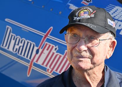 """94-year-old Carroll Lutheran Village resident and World War II veteran, Air Force Corporal Dr. Jim Miller, flew in a restored WWII-era Boeing Stearman biplane at Carroll County Regional Airport for Dream FlightsÕ """"Operation September Freedom."""" Operation September Freedom is non-profit Dream FlightsÕ last mission to honor members of the greatest generation with free flights of a lifetime in restored WWII-era Boeing Stearman biplanes. Operation September Freedom has flown over 450 WWII veterans since August 1, 2021."""