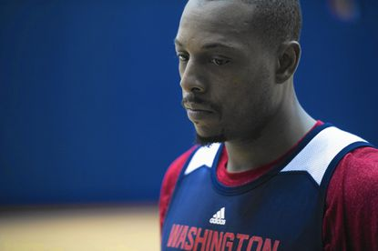 In this Oct. 16, 2014, photo, Washington Wizards NBA basketball player Paul Pierce participates in team practice at the Verizon Center in Washington. One move changed everything for Pierce last season. (AP Photo/Cliff Owen) ** Usable by LA, DC, CGT and CCT Only **