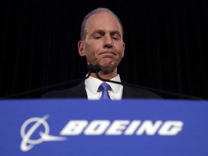 In this Monday, April 29, 2019 photo, Boeing Chief Executive Dennis Muilenburg speaks during a news conference after the company's annual shareholders meeting at the Field Museum in Chicago.