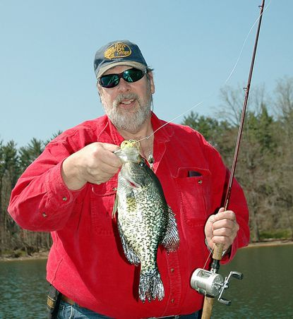 Harry Pippin took this big Loch Raven crappie on a spinnerbait fished for bass using the dumb luck technique.