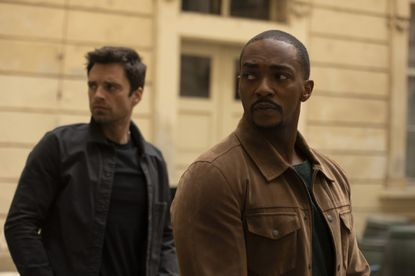 "(L-R): Winter Soldier/Bucky Barnes (Sebastian Stan) and Falcon/Sam Wilson (Anthony Mackie) in Marvel Studios' ""The Falcon and The Winter Soldier"" on Disney+. Photo by Julie Vrabelová. ©Marvel Studios 2021. All Rights Reserved. User Upload Caption: Sebastian Stan (L) and Anthony Mackie in ""The Falcom and The Winter Sodier"" - Original Credit: Marvel Studios/Disney+"