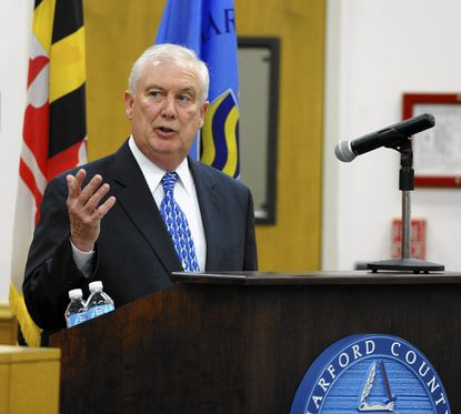 Harford County Executive David Craig delivers his State of the County speech during Tuesday night's County Council meeting in Bel Air.