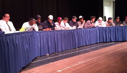 Gilman honored 11 football players at its signing ceremony Wednesday morning, including 10 headed to Division I programs: (L to R) Stephen Spanellis, Michigan; Korey Stevens, Villanova; Shamar Shanks, Monmouth; Wes Mehl, Navy: Dorian Maddox, Stanford; James Lotz, Franklin and Marshall; Stewart Keehner, Georgetown; Ellison Jordan, Penn State; Devery Hamilton, Stanford; John Fitzgerald, Cornell; and Antonio Dupree, UTEP.