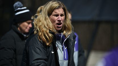 James Madison women's lacrosse coach Shelley Klaes-Bawcombe looks on during a game at Maryland earlier this season. The Dukes have won seven straight since losing to the Terps.