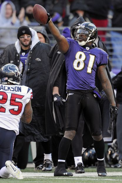 Anquan Boldin signals for a first down after a second-quarter reception against the Houston Texans in 2012.